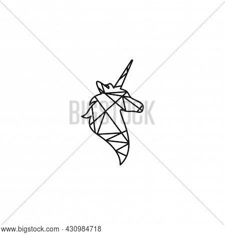 Black Line Faceted Silhouette Of Unicorn Head. Vector Flat Icon Isolated On White Background. Fantas