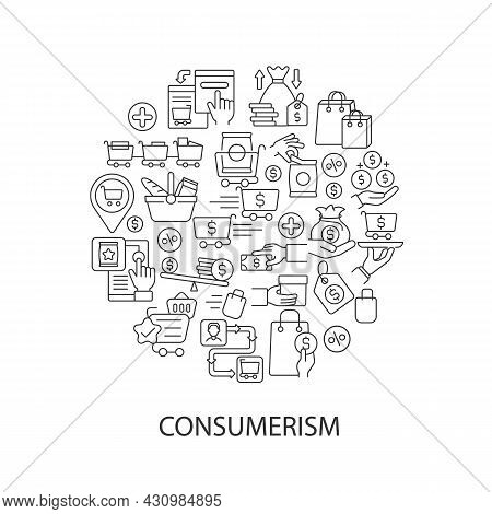 Consumerism Abstract Linear Concept Layout With Headline. Sale For Products. Sell Goods. Commerce Mi