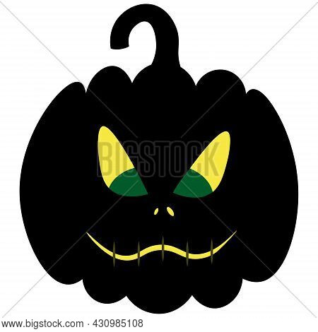 Pumpkin. The Mouth Is Sewn Up. The Silhouette Of A Pumpkin Glows In The Dark. Angry Facial Expressio