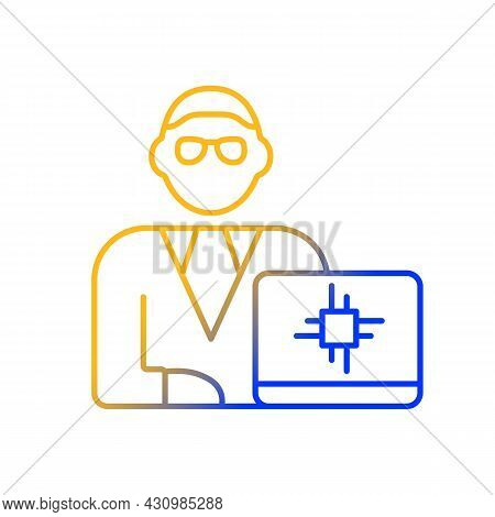 Chief Technology Officer Gradient Linear Vector Icon. Scientific And Technological Occupation. Super