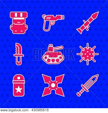 Set Military Tank, Japanese Ninja Shuriken, Sword, Naval Mine, Chevron, Knife, Rocket Launcher And H