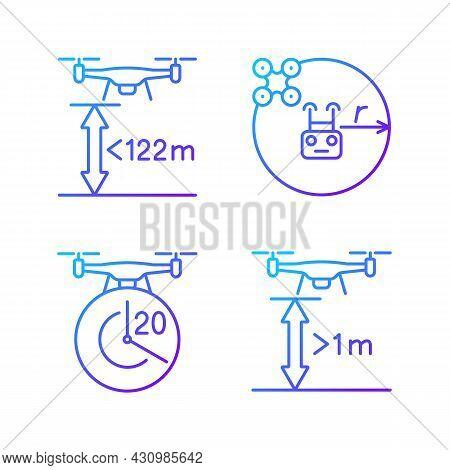 Drone Proper Control Gradient Linear Vector Manual Label Icons Set. Altitude Limit. Thin Line Contou