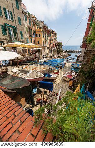 Riomaggiore, Italy - July 8, 2021: The Famous Riomaggiore Village, Cinque Terre National Park In Lig