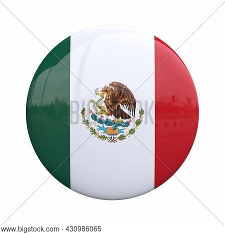 Mexico National Flag Badge, Nationality Pin 3d Rendering