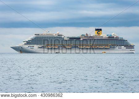 La Spezia, Italy - July 8, 2021: Costa Diadema Cruise Ship Moored In The Harbor Of The Gulf Of La Sp