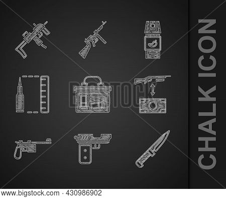 Set Military Ammunition Box, Pistol Or Gun, Knife, Buying Assault Rifle, Mauser, Bullet, Pepper Spra