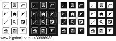 Set Revolver Gun, Weapon Case, Mauser, Tommy, Sniper Optical Sight, Shop Weapon In Mobile App, Milit