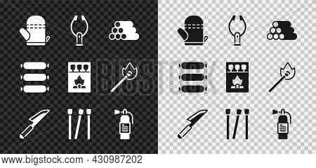 Set Oven Glove, Meat Tongs, Wooden Logs, Knife, Matches, Fire Extinguisher, Sausage And Matchbox And