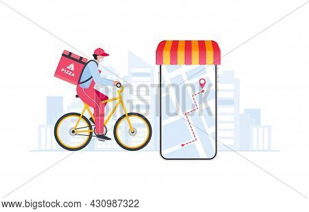 Courier On Bicycle With Parcel Box On The Back Delivering Food In City. Express Delivery Service.