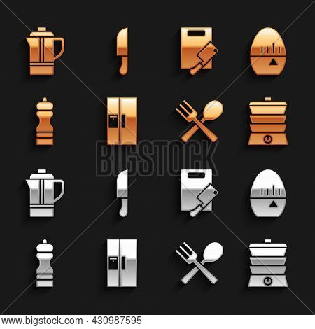 Set Refrigerator, Kitchen Timer, Slow Cooker, Crossed Fork And Spoon, Pepper, Cutting Board Meat Cho