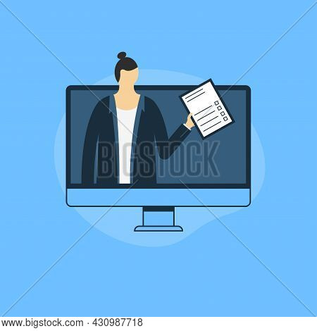 Businessman Offering An Agreement Or Contract Online. Talk About The Terms Of The Contract. Digital