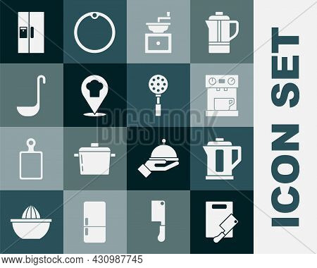 Set Cutting Board And Meat Chopper, Electric Kettle, Coffee Machine, Manual Coffee Grinder, Chef Hat
