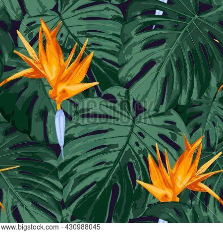 Tropical Floral Seamless Pattern. Realistic Vector Background With Rain Forest Nature, Green Monster