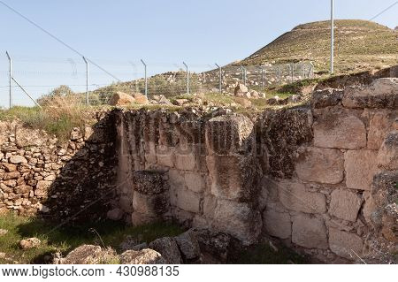 The Ruins Of The Outer Part Of The Palace Of King Herod, Against The Background Of The Filled Artifi