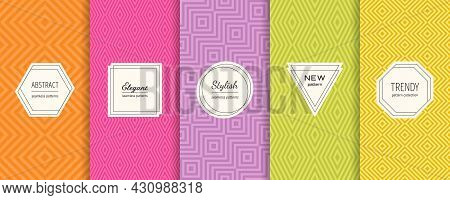 Vector Geometric Line Seamless Patterns Collection. Set Of Bright Colorful Background Swatches With