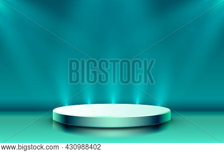 Stage Podium With Lighting, Stage Podium Scene With For Award, Decor Element Background. Vector