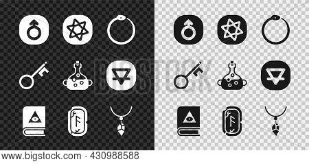 Set Mars, Tarot Cards, Ouroboros, Ancient Magic Book, Magic Runes, Necklace With Crystal, Old Key An