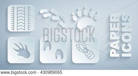 Set Horse Paw Footprint, Bear, Alligator Crocodile, Human Footprints Shoes, And Tire Track Icon. Vec