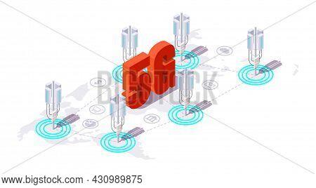 Base Station Antenna, Communication Tower For 5g High Speed Internet, Vector Isometric Illustration.