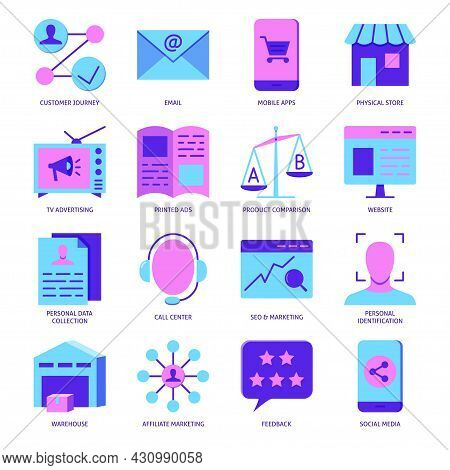 Omni-channel Customer Experience Icon Set In Flat Style