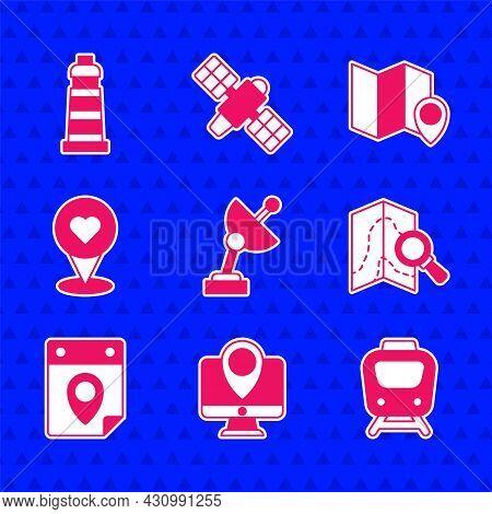 Set Radar, Monitor With Location Marker, Train, Search, Travel Planning Calendar, Location Heart, Fo