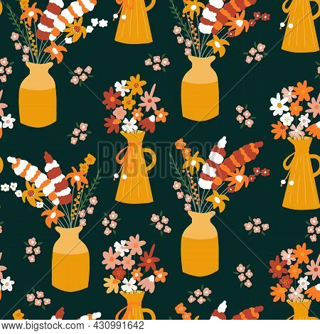 Autumn Flower Vase Seamless Vector Pattern. Repeating Horizontal Background With Colorful Fall Flowe