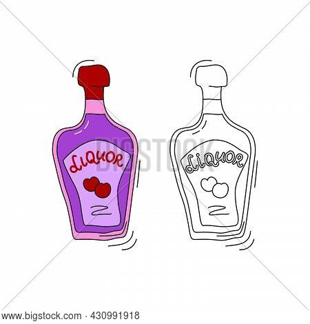 Liquor On White Background. Two Kinds Beverage. Cartoon Sketch Graphic Design. Doodle Style With Bla