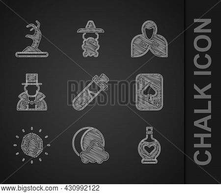 Set Bottle With Potion, Moon And Stars, Love, Playing Cards, Magic Stone, Magician, Mantle, Cloak, C