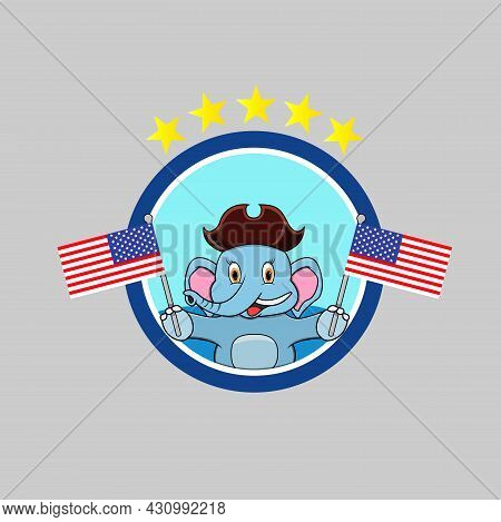 Happy Columbus Day America With Cute Elephant And Bring Flags, Circle Label, Cartoon, Mascot, Animal