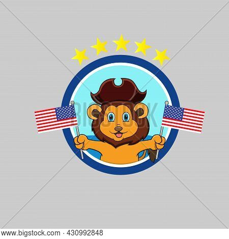 Happy Columbus Day America With Cute Lion And Bring Flags, Circle Label, Cartoon, Mascot, Animals, C
