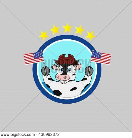Happy Columbus Day America With Cute Cow And Bring Flags, Circle Label, Cartoon, Mascot, Animals, Ch