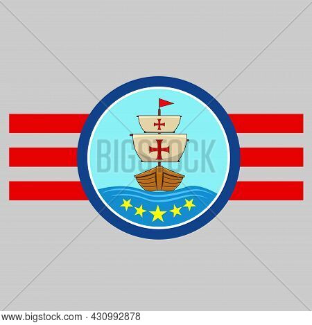 Happy Columbus Day America With Ship On Sea, Circle Label, Cartoon, Mascot, Animals, Character, Vect