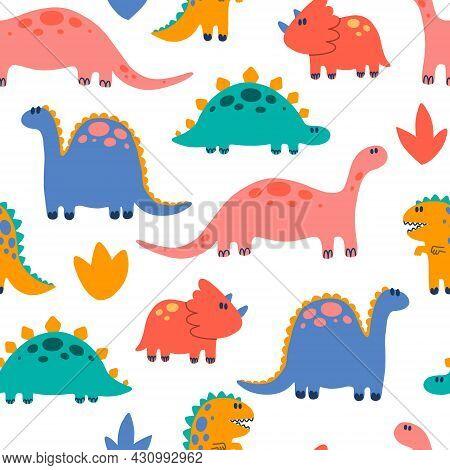 Seamless Pattern With Various Cartoon Dinosaurs. Cute Dinosaur Illustration. Hand Drawn Bright Color