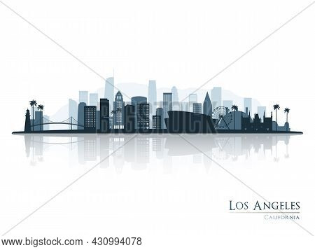 Los Angeles Skyline Silhouette With Reflection. Landscape Los Angeles, California. Vector Illustrati
