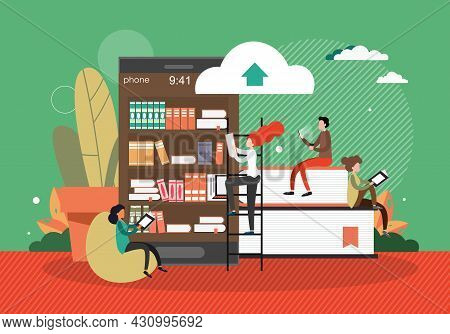 Books On Smartphone Shelves And People Reading, Flat Vector Illustration. Digital Library, Online Ed