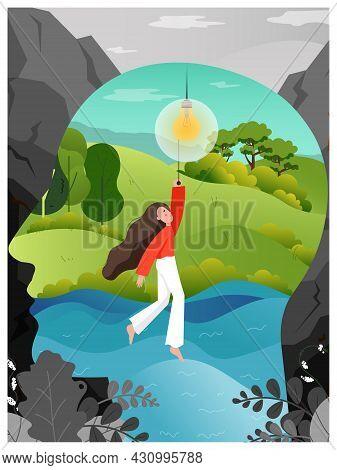 Human Head And Woman Turning On New Idea Shining Lightbulb, Flat Vector Illustration. Human Mind, Th