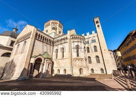 The Medieval San Vigilio Cathedral (duomo Di Trento, 1212-1321) In Romanesque And Gothic Style, Tren