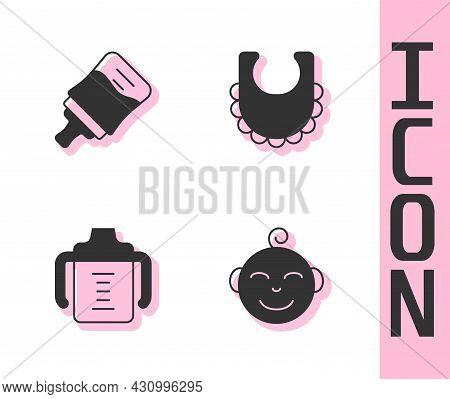 Set Little Boy Head, Baby Bottle, And Bib Icon. Vector