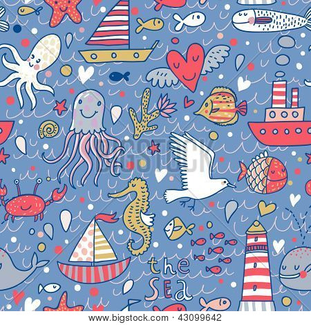 Cartoon marine seamless pattern for childish wallpapers. Octopus, seagulls, fish, whale, sea horse, crab and ships at sea in vector