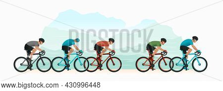 Cycling Tournament. Cyclists Chase The Leader Of The Race. The Head Of The Peloton. The Cyclist Is T