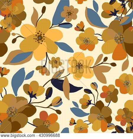 Vector Seamless Autumn Flower Pattern With Yellow Bouquets, Branches, Leaves, Buds. Abstract Floweri