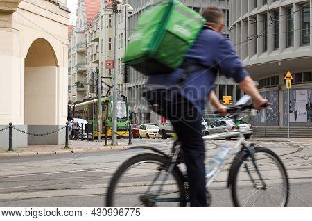Poznan - Poland - 2021: City Traffic On Crossroad Fredry Street, Gwarna Street And Mielzynskiego Str