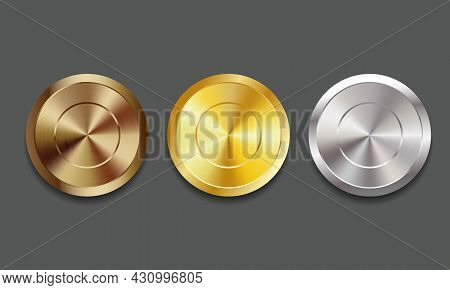 Empty Blank Set Vector Templates Embossed With Chamfers For Winner Awards Medals, Coin, Price Tags,