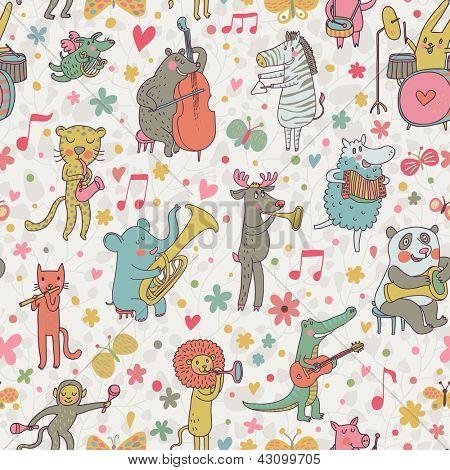 Animals musicians: lion, leopard, elephant, pig, cat, dog, panda, bear, elk, alligator, monkey, sheep, rabbit and zebra in cartoon seamless pattern in vector