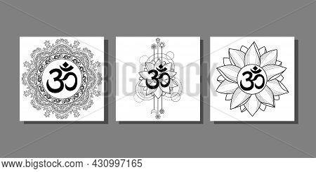 Om Prints Set With Lotus And Mandala