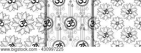 Mantra Om And Lotus Seamless Patterns Set