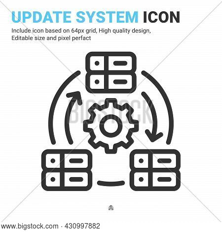 Update System Icon Vector With Outline Style Isolated On White Background. Vector Illustration Datab