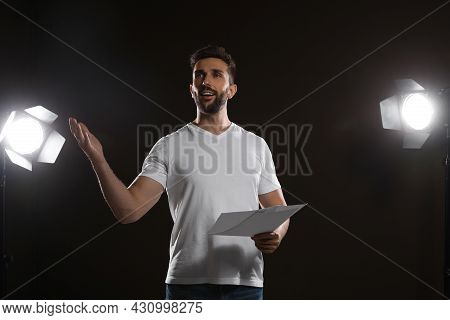 Professional Actor Rehearsing On Stage In Theatre