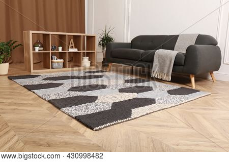 Modern Living Room Interior With Grey Carpet And Stylish Furniture