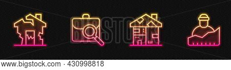 Set Line Homeless Cardboard House, Ruined, Work Search And Growth Of Homeless. Glowing Neon Icon. Ve